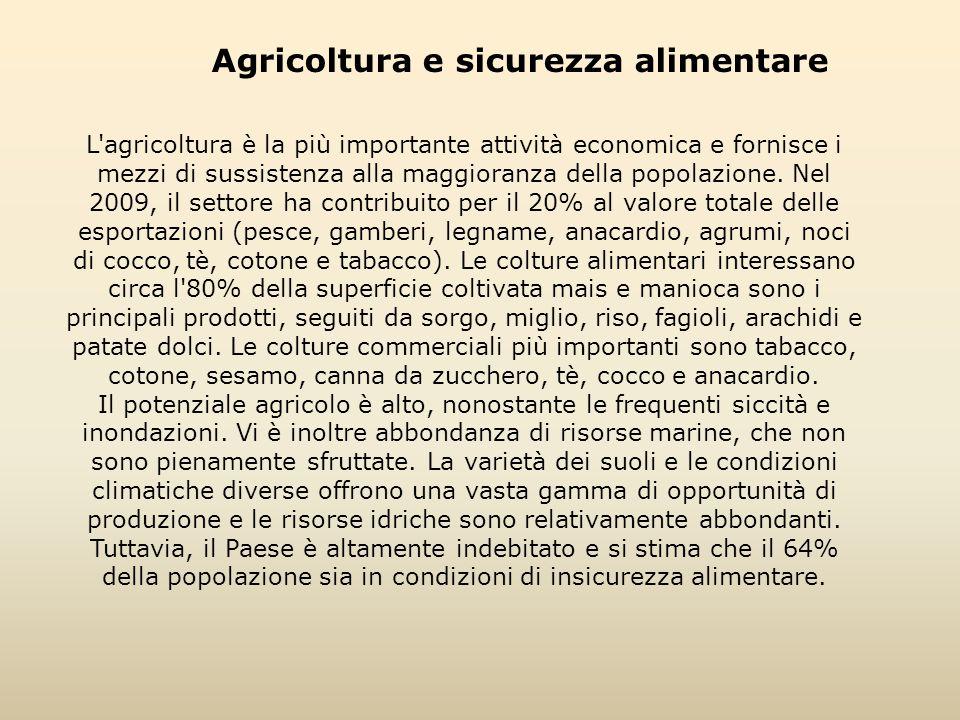 Agricoltura e sicurezza alimentare L'agricoltura è la più importante attività economica e fornisce i mezzi di sussistenza alla maggioranza della popol