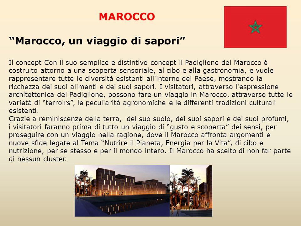 """MAROCCO """"Marocco, un viaggio di sapori"""" Il concept Con il suo semplice e distintivo concept il Padiglione del Marocco è costruito attorno a una scoper"""