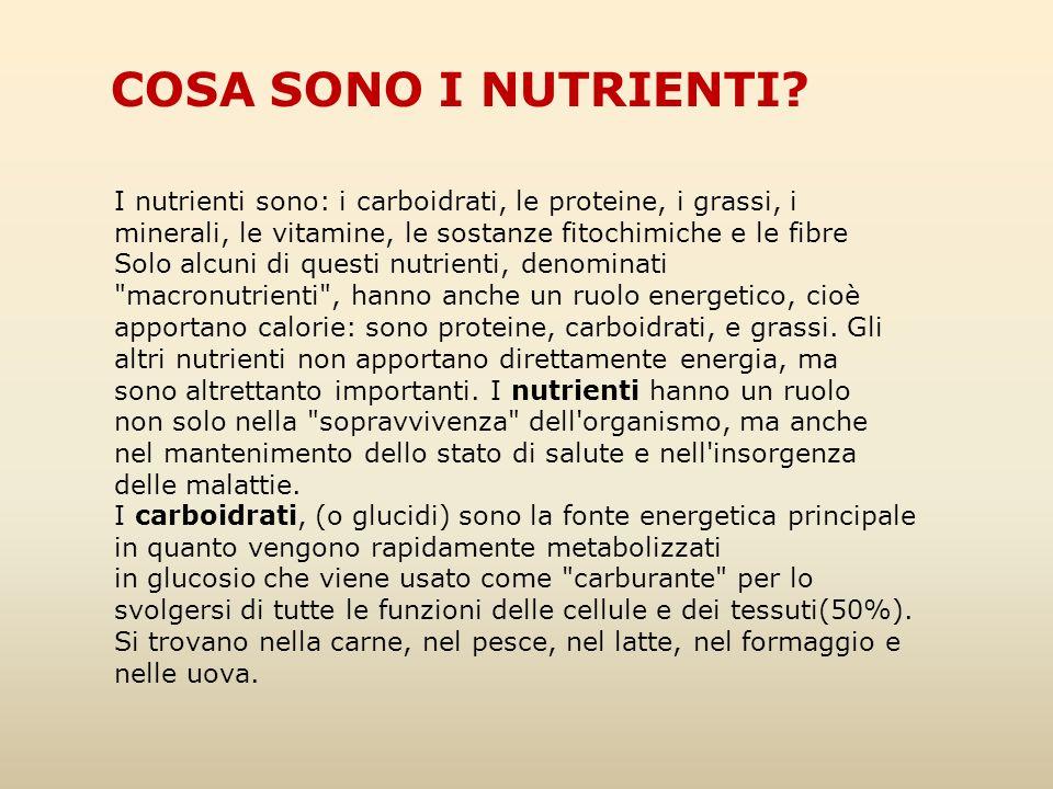 I nutrienti sono: i carboidrati, le proteine, i grassi, i minerali, le vitamine, le sostanze fitochimiche e le fibre Solo alcuni di questi nutrienti,