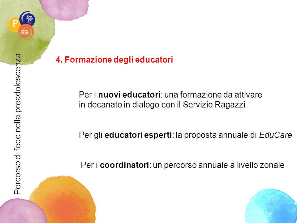 4. Formazione degli educatori Per i nuovi educatori: una formazione da attivare in decanato in dialogo con il Servizio Ragazzi Per gli educatori esper