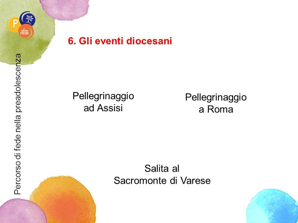 6. Gli eventi diocesani Pellegrinaggio ad Assisi Pellegrinaggio a Roma Salita al Sacromonte di Varese Percorso di fede nella preadolescenza