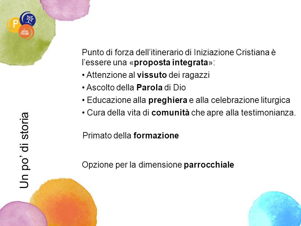 Un po' di storia Punto di forza dell'itinerario di Iniziazione Cristiana è l'essere una «proposta integrata»: Attenzione al vissuto dei ragazzi Ascolt