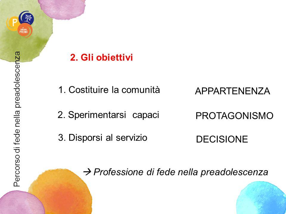 2.Gli obiettivi 1. Costituire la comunità APPARTENENZA 2.