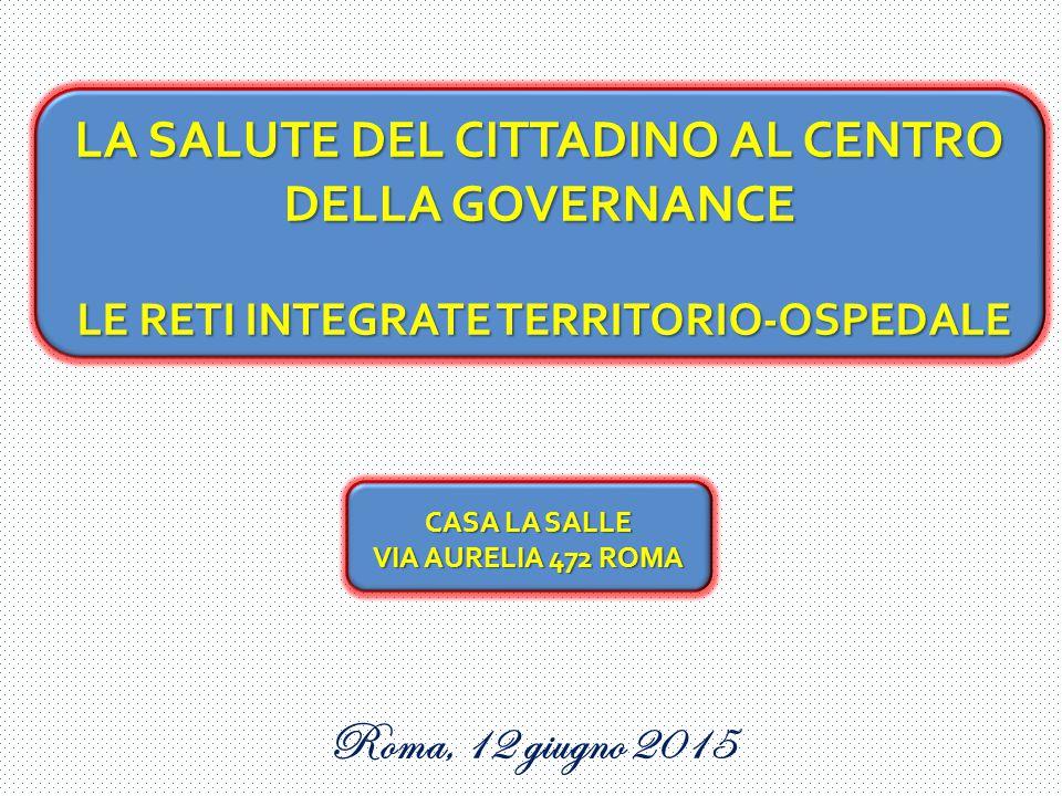 Roma, 12 giugno 2015 LA SALUTE DEL CITTADINO AL CENTRO DELLA GOVERNANCE LE RETI INTEGRATE TERRITORIO-OSPEDALE LE RETI INTEGRATE TERRITORIO-OSPEDALE CA