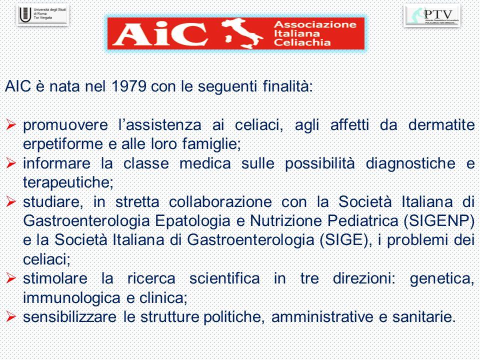 AIC è nata nel 1979 con le seguenti finalità:  promuovere l'assistenza ai celiaci, agli affetti da dermatite erpetiforme e alle loro famiglie;  info