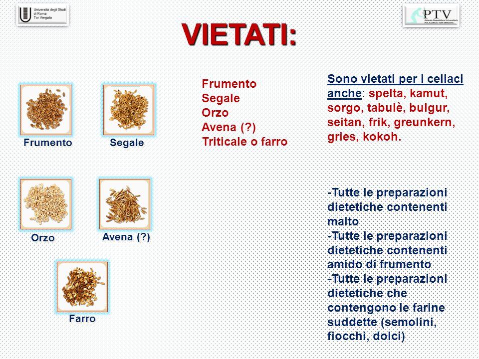 VIETATI: Frumento Segale Orzo Avena (?) Farro Frumento Segale Orzo Avena (?) Triticale o farro Sono vietati per i celiaci anche: spelta, kamut, sorgo,