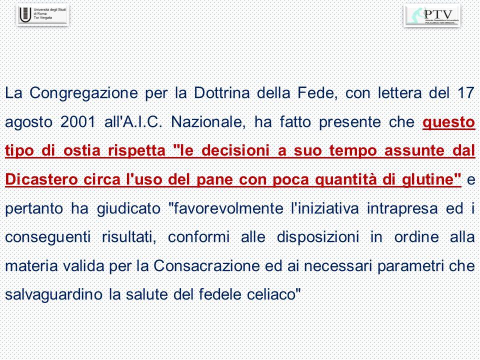 La Congregazione per la Dottrina della Fede, con lettera del 17 agosto 2001 all'A.I.C. Nazionale, ha fatto presente che questo tipo di ostia rispetta