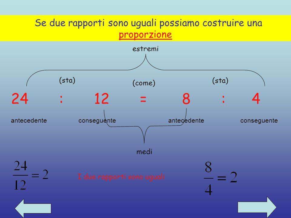 Il rapporto tra due numeri, di cui il secondo è diverso da zero, è il quoziente tra il primo ed il secondo numero. 12 (antecedente) ________ = 3 4 (co