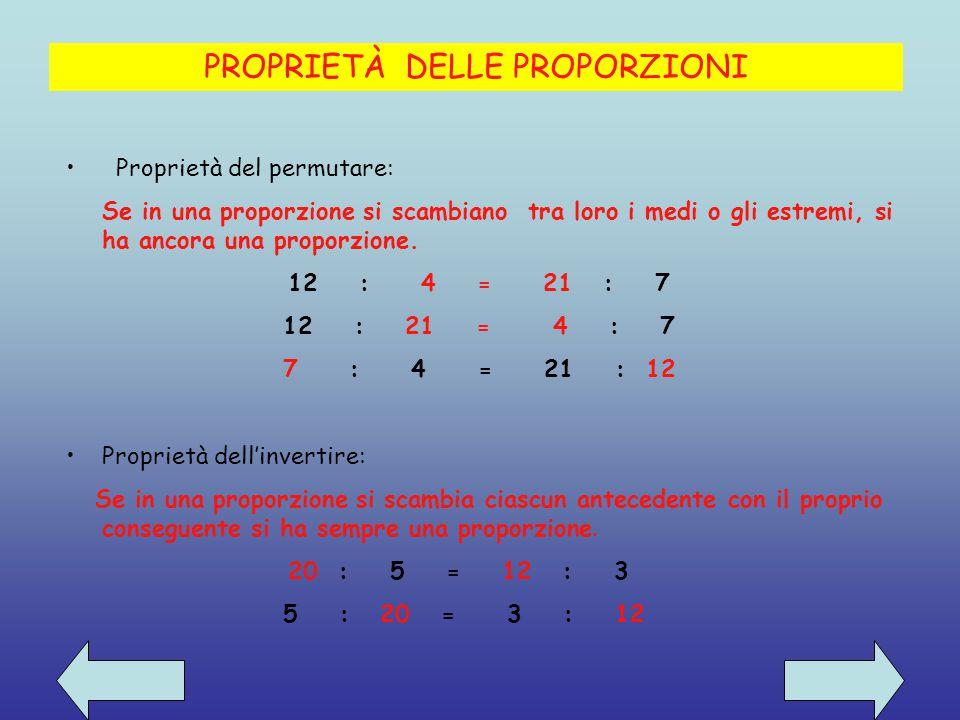 In ogni proporzione il prodotto dei medi è uguale al prodotto degli estremi 14 : 35 = 2 : 5 14 * 5 = 70 35 * 2 =70 Proprietà fondamentale delle proporzioni