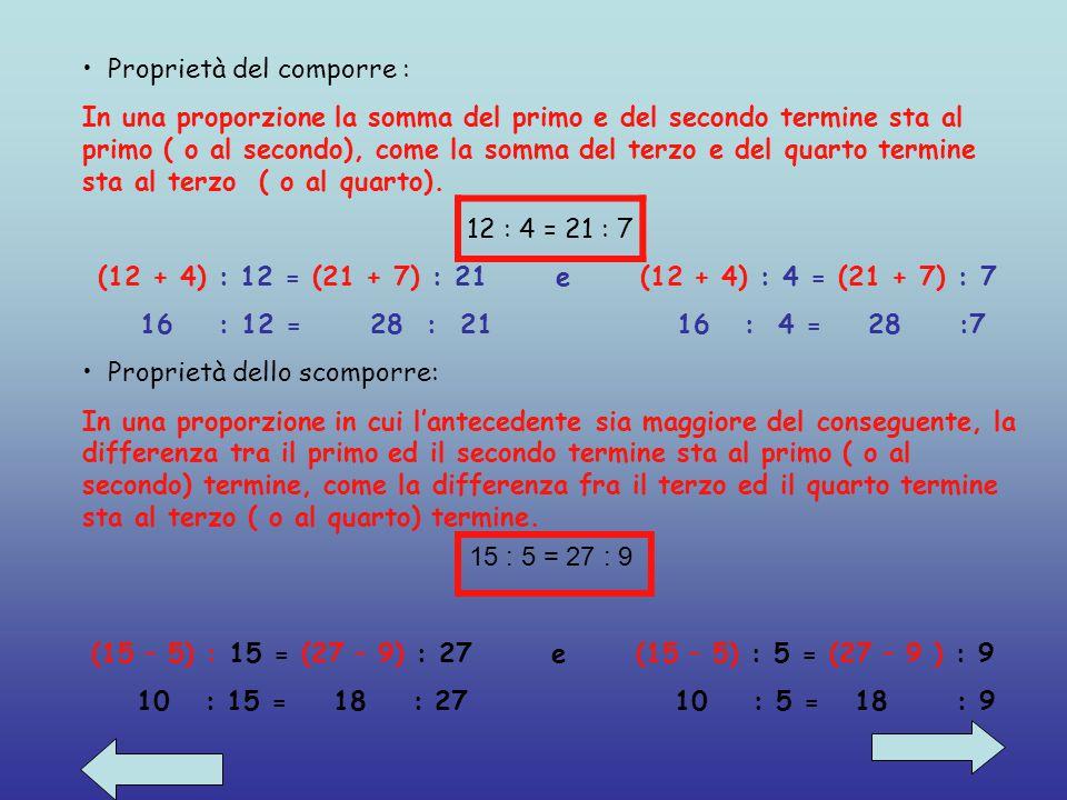 PROPRIETÀ DELLE PROPORZIONI Proprietà del permutare: Se in una proporzione si scambiano tra loro i medi o gli estremi, si ha ancora una proporzione. 1