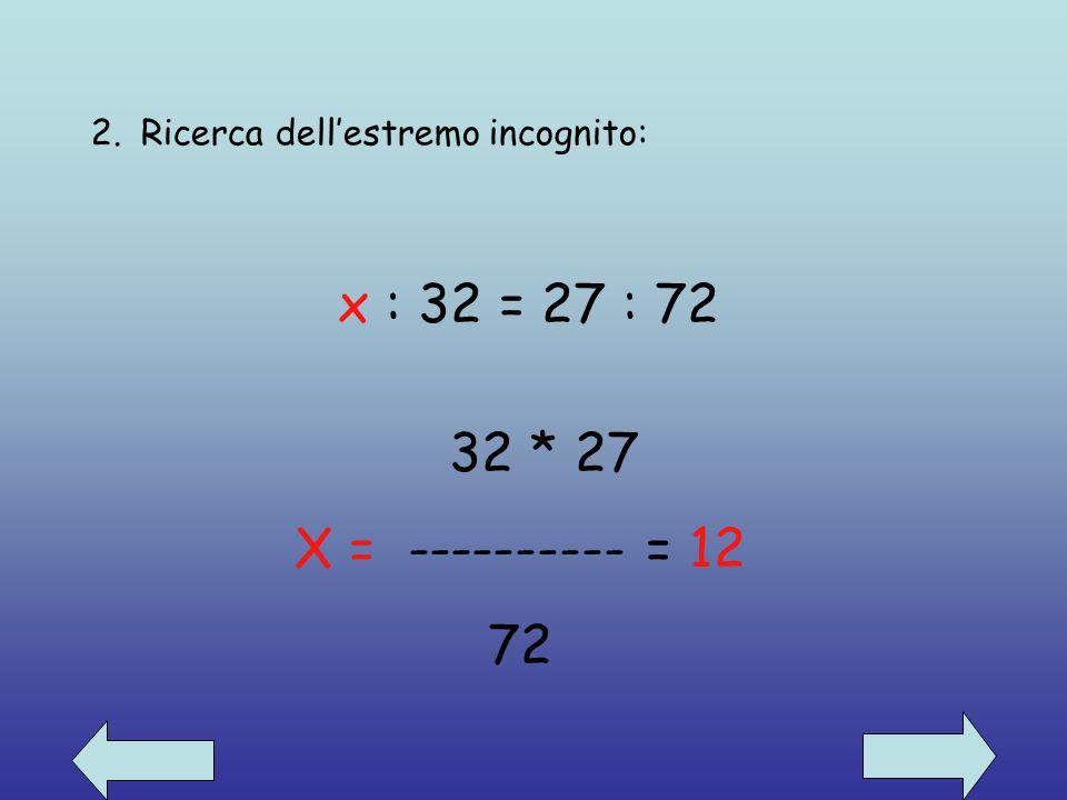 Calcolo di un termine di una proporzione 1. Ricerca del medio incognito: 48: x = 12 : 16 48* 16 X = ---------- = 64 12