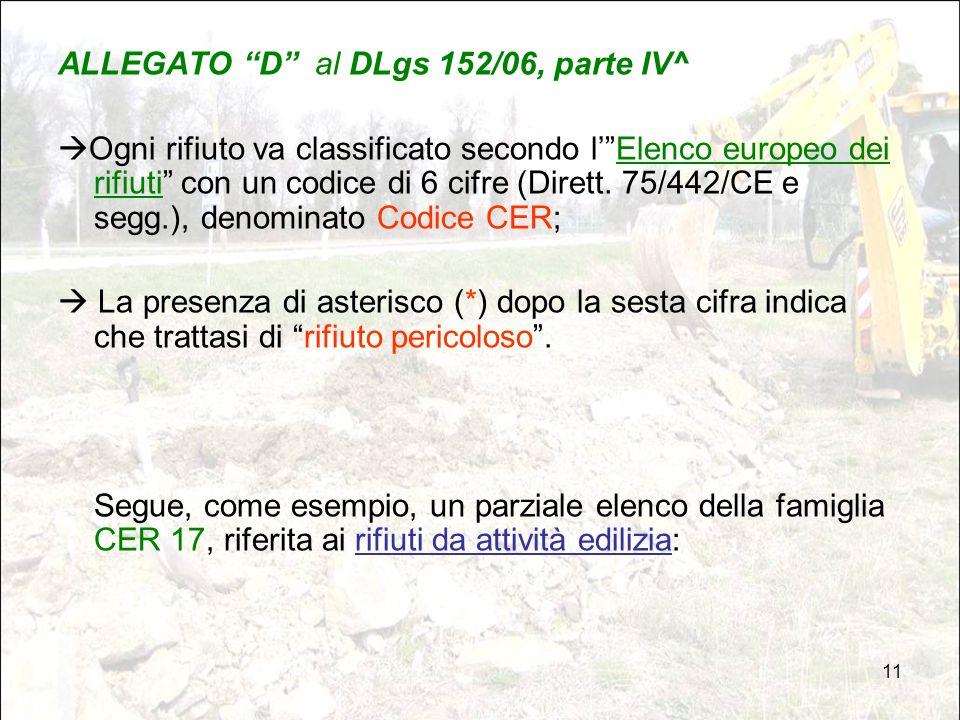 """11 ALLEGATO """"D"""" al DLgs 152/06, parte IV^  Ogni rifiuto va classificato secondo l'""""Elenco europeo dei rifiuti"""" con un codice di 6 cifre (Dirett. 75/4"""