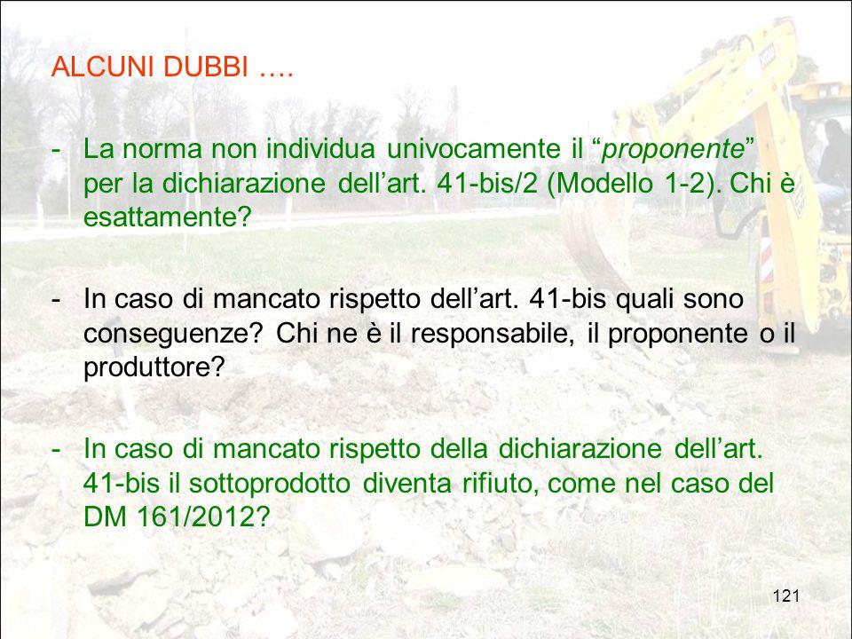 """121 ALCUNI DUBBI …. -La norma non individua univocamente il """"proponente"""" per la dichiarazione dell'art. 41-bis/2 (Modello 1-2). Chi è esattamente? -In"""
