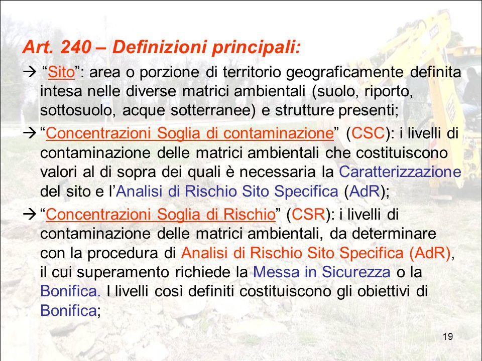 """19 Art. 240 – Definizioni principali:  """"Sito"""": area o porzione di territorio geograficamente definita intesa nelle diverse matrici ambientali (suolo,"""