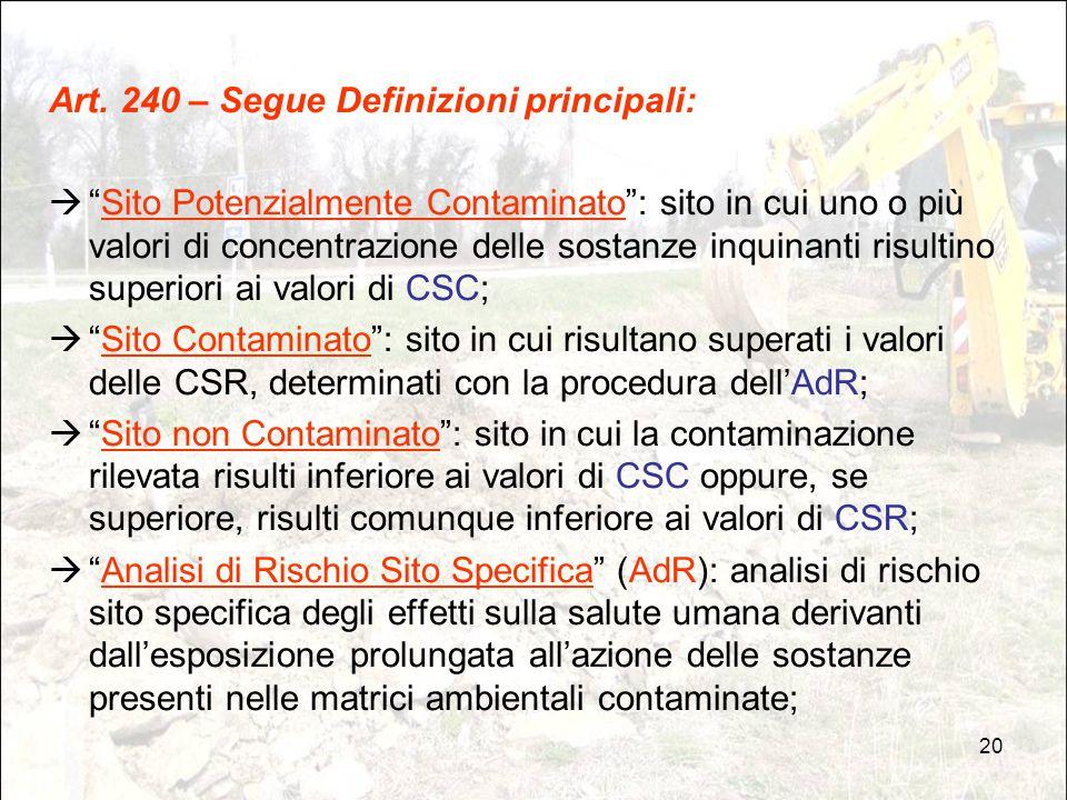 """20 Art. 240 – Segue Definizioni principali:  """"Sito Potenzialmente Contaminato"""": sito in cui uno o più valori di concentrazione delle sostanze inquina"""