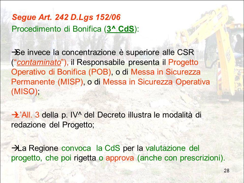 """28 Segue Art. 242 D.Lgs 152/06 Procedimento di Bonifica (3^ CdS):  Se invece la concentrazione è superiore alle CSR (""""contaminato""""), il Responsabile"""
