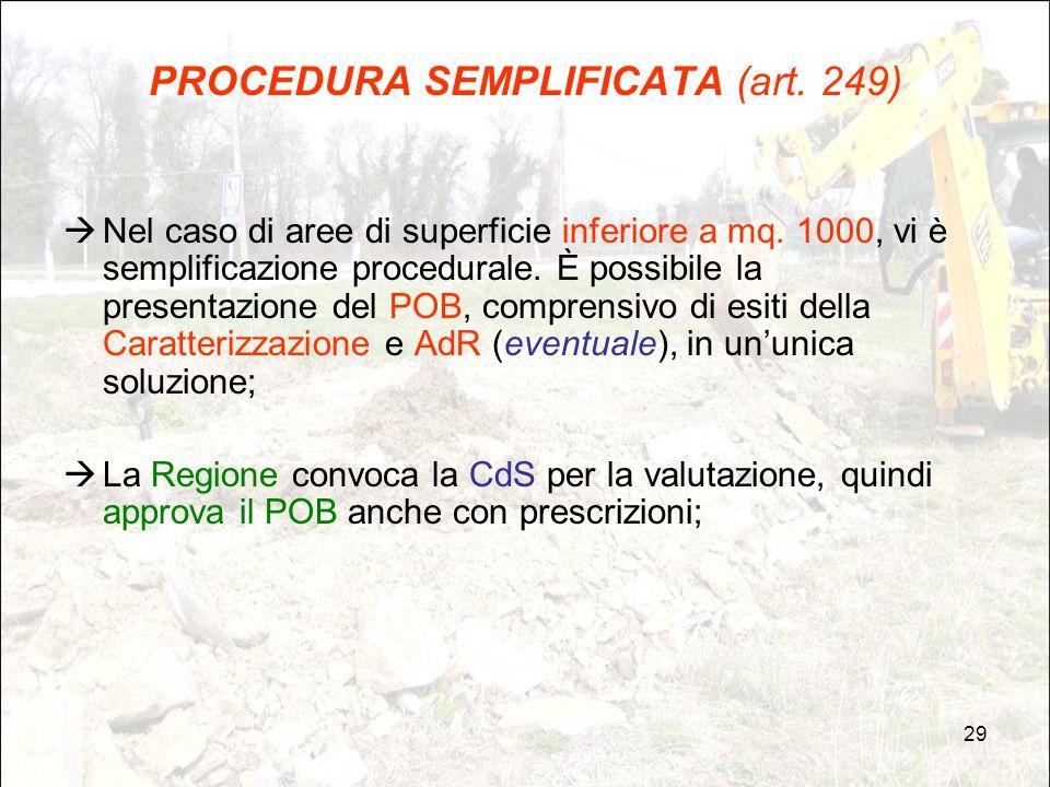 29 PROCEDURA SEMPLIFICATA (art. 249)  Nel caso di aree di superficie inferiore a mq. 1000, vi è semplificazione procedurale. È possibile la presentaz