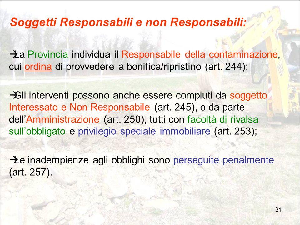 31 Soggetti Responsabili e non Responsabili:  La Provincia individua il Responsabile della contaminazione, cui ordina di provvedere a bonifica/ripris