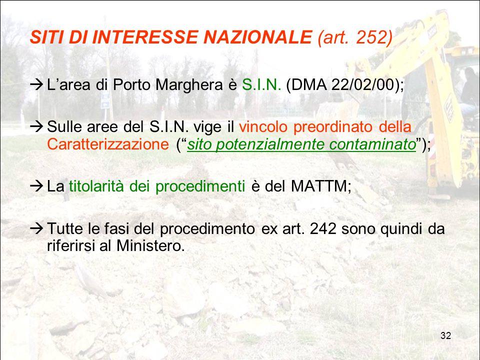 32 SITI DI INTERESSE NAZIONALE (art. 252)  L'area di Porto Marghera è S.I.N. (DMA 22/02/00);  Sulle aree del S.I.N. vige il vincolo preordinato dell