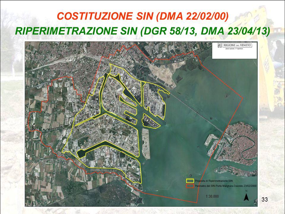 33 COSTITUZIONE SIN (DMA 22/02/00) RIPERIMETRAZIONE SIN (DGR 58/13, DMA 23/04/13)