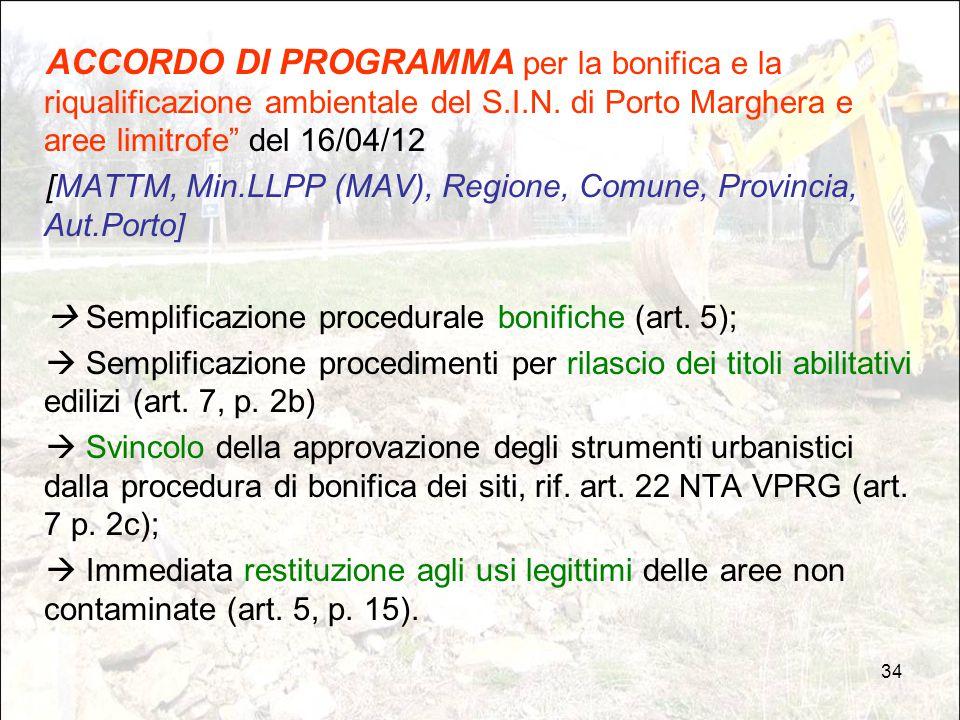 """34 ACCORDO DI PROGRAMMA per la bonifica e la riqualificazione ambientale del S.I.N. di Porto Marghera e aree limitrofe"""" del 16/04/12 [MATTM, Min.LLPP"""