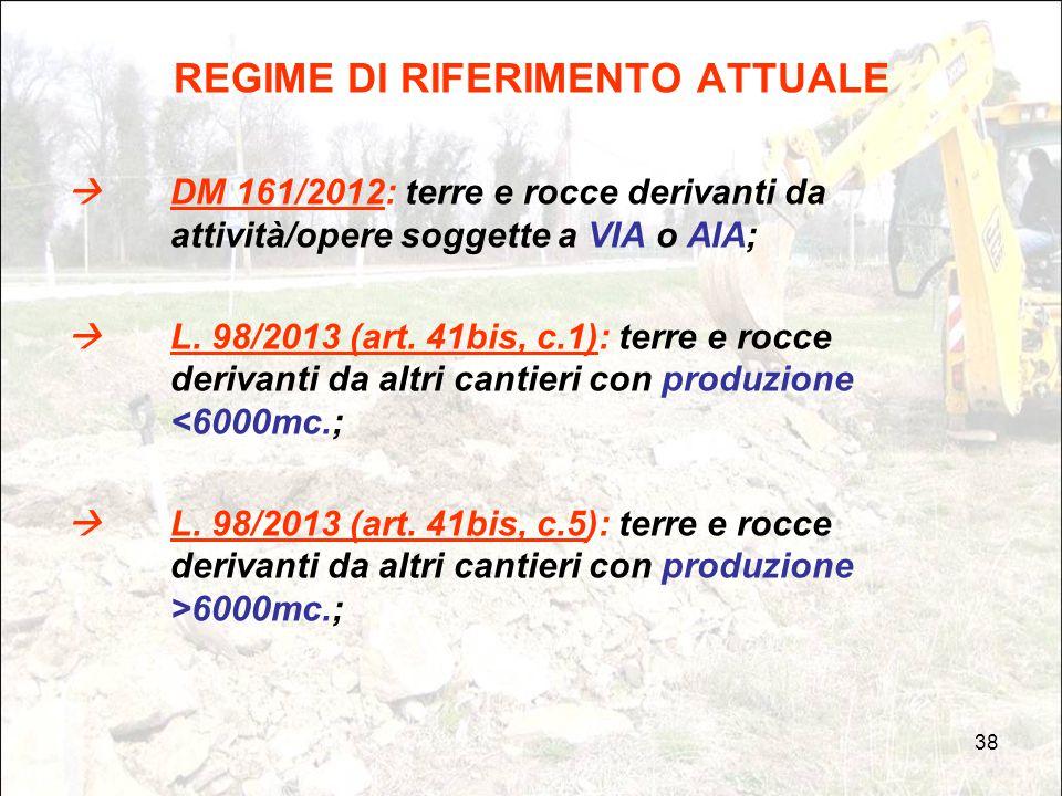 38 REGIME DI RIFERIMENTO ATTUALE  DM 161/2012: terre e rocce derivanti da attività/opere soggette a VIA o AIA;  L. 98/2013 (art. 41bis, c.1): terre