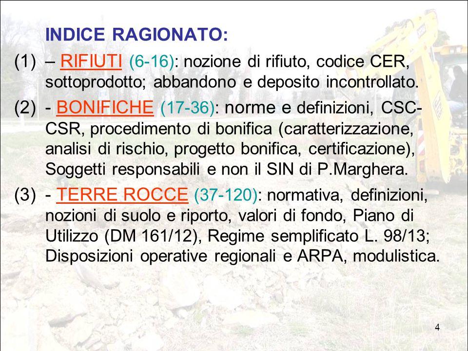 4 INDICE RAGIONATO: (1)– RIFIUTI (6-16): nozione di rifiuto, codice CER, sottoprodotto; abbandono e deposito incontrollato. (2)- BONIFICHE (17-36): no