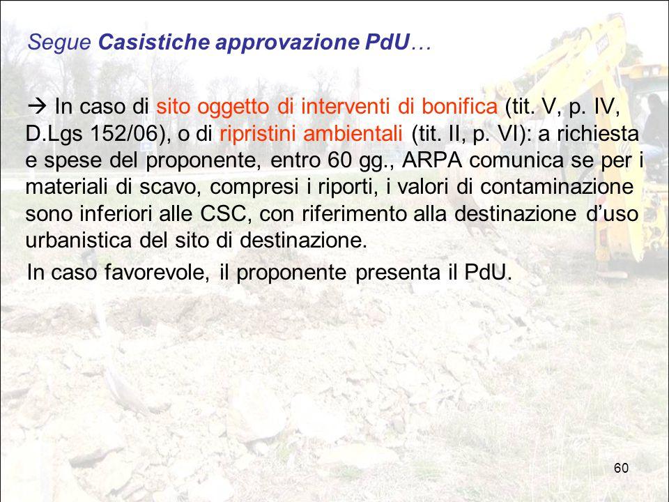 60 Segue Casistiche approvazione PdU…  In caso di sito oggetto di interventi di bonifica (tit. V, p. IV, D.Lgs 152/06), o di ripristini ambientali (t