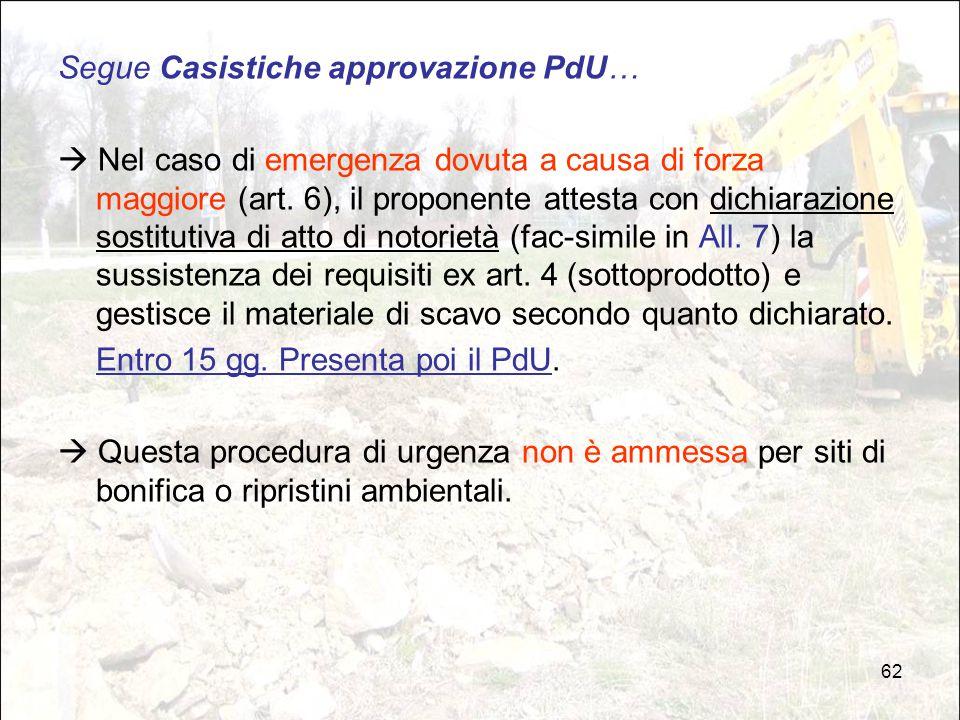 62 Segue Casistiche approvazione PdU…  Nel caso di emergenza dovuta a causa di forza maggiore (art. 6), il proponente attesta con dichiarazione sosti