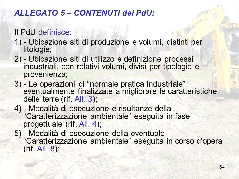 64 ALLEGATO 5 – CONTENUTI del PdU: Il PdU definisce: 1) - Ubicazione siti di produzione e volumi, distinti per litologie; 2) - Ubicazione siti di util