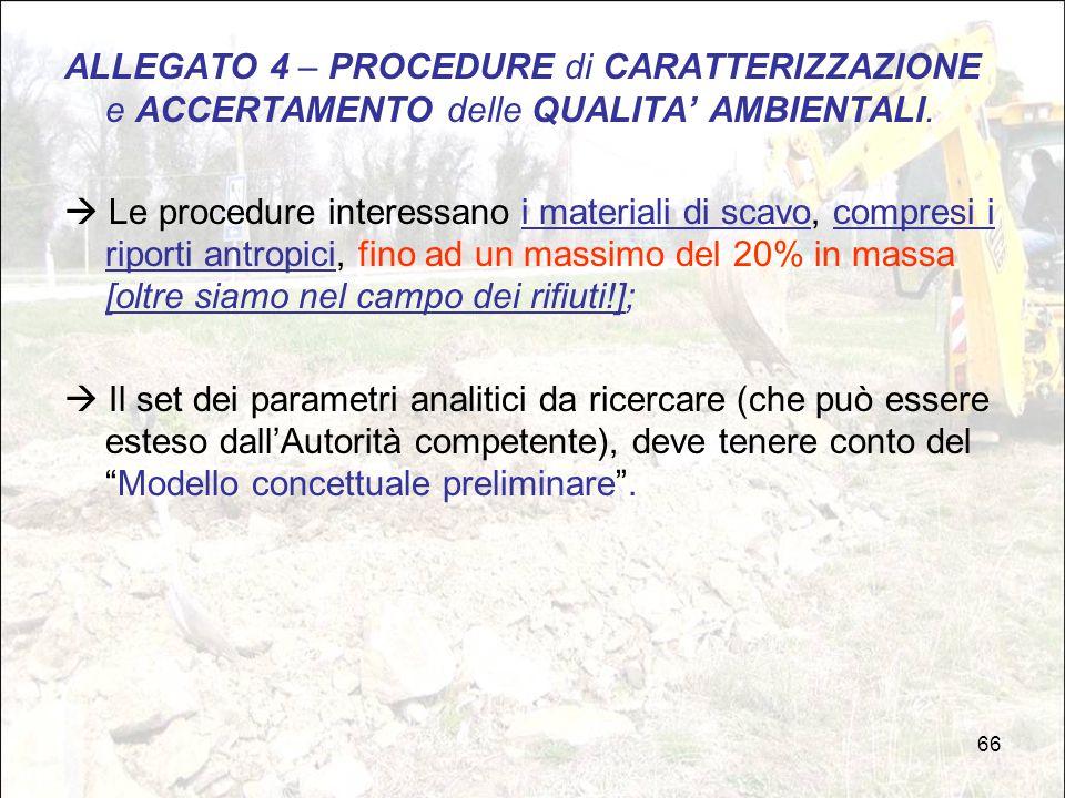 66 ALLEGATO 4 – PROCEDURE di CARATTERIZZAZIONE e ACCERTAMENTO delle QUALITA' AMBIENTALI.  Le procedure interessano i materiali di scavo, compresi i r