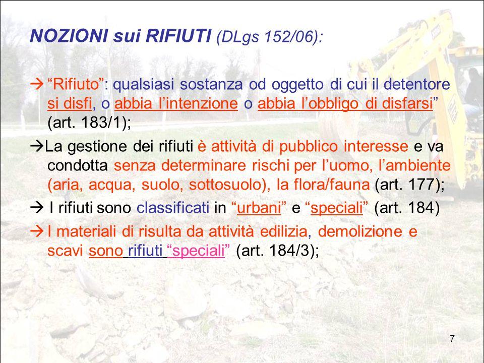 """7 NOZIONI sui RIFIUTI (DLgs 152/06):  """"Rifiuto"""": qualsiasi sostanza od oggetto di cui il detentore si disfi, o abbia l'intenzione o abbia l'obbligo d"""