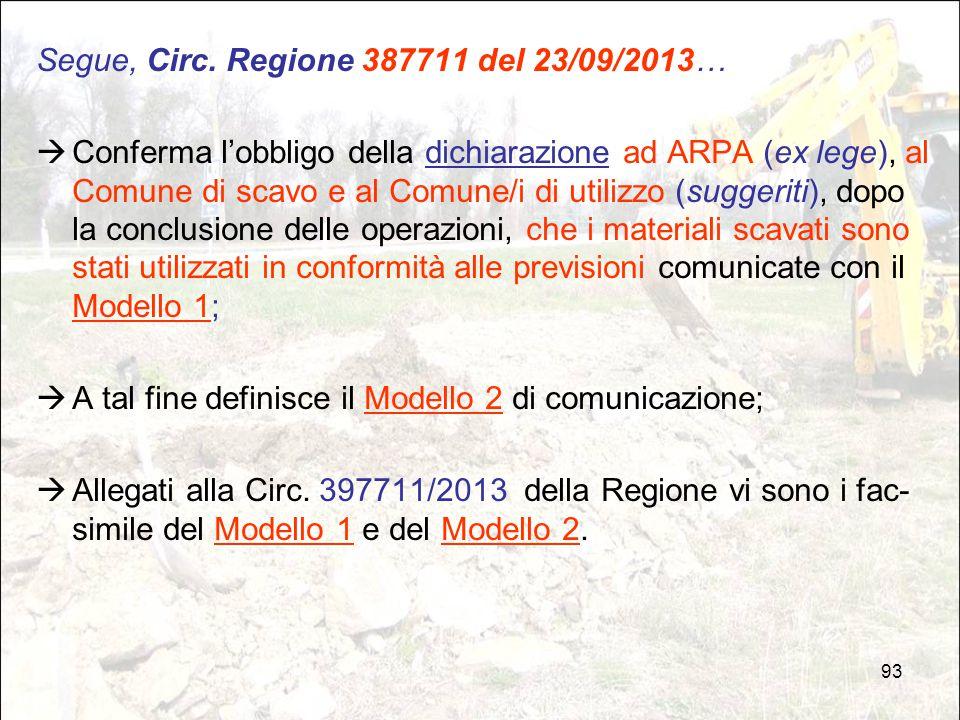 93 Segue, Circ. Regione 387711 del 23/09/2013…  Conferma l'obbligo della dichiarazione ad ARPA (ex lege), al Comune di scavo e al Comune/i di utilizz