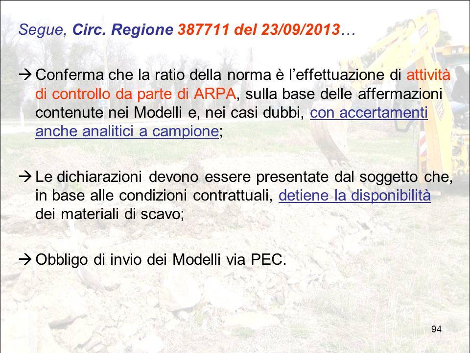 94 Segue, Circ. Regione 387711 del 23/09/2013…  Conferma che la ratio della norma è l'effettuazione di attività di controllo da parte di ARPA, sulla