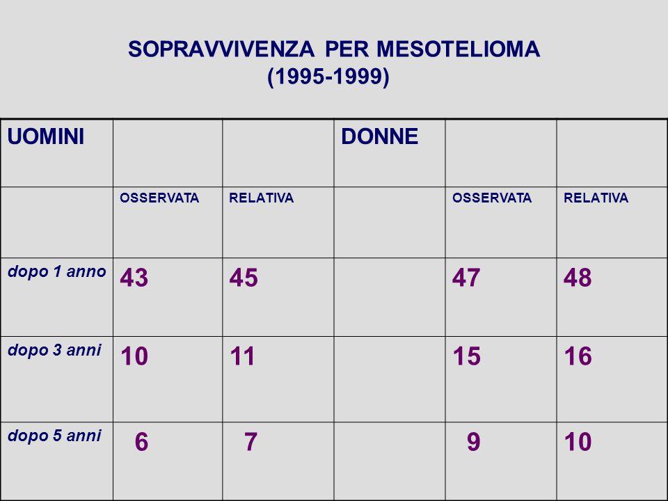 SOPRAVVIVENZA PER MESOTELIOMA (1995-1999) UOMINIDONNE OSSERVATARELATIVAOSSERVATARELATIVA dopo 1 anno 43454748 dopo 3 anni 10111516 dopo 5 anni 6 7 910