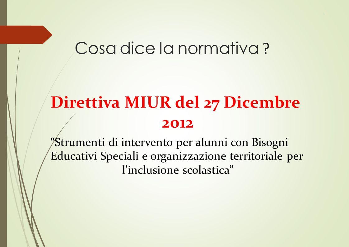 """Cosa dice la normativa ? Direttiva MIUR del 27 Dicembre 2012 """"Strumenti di intervento per alunni con Bisogni Educativi Speciali e organizzazione terri"""