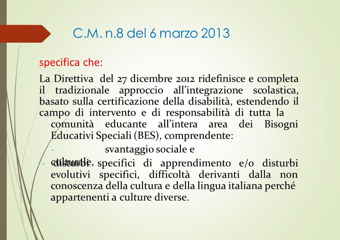 C.M. n.8 del 6 marzo 2013 specifica che: La Direttiva del 27 dicembre 2012 ridefinisce e completa il tradizionale approccio all'integrazione scolastic