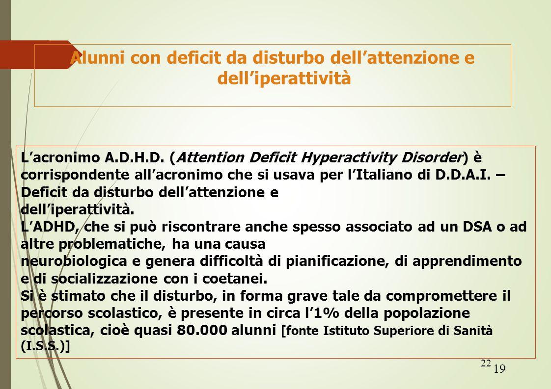 22 Alunni con deficit da disturbo dell'attenzione e dell'iperattività L'acronimo A.D.H.D. (Attention Deficit Hyperactivity Disorder) è corrispondente