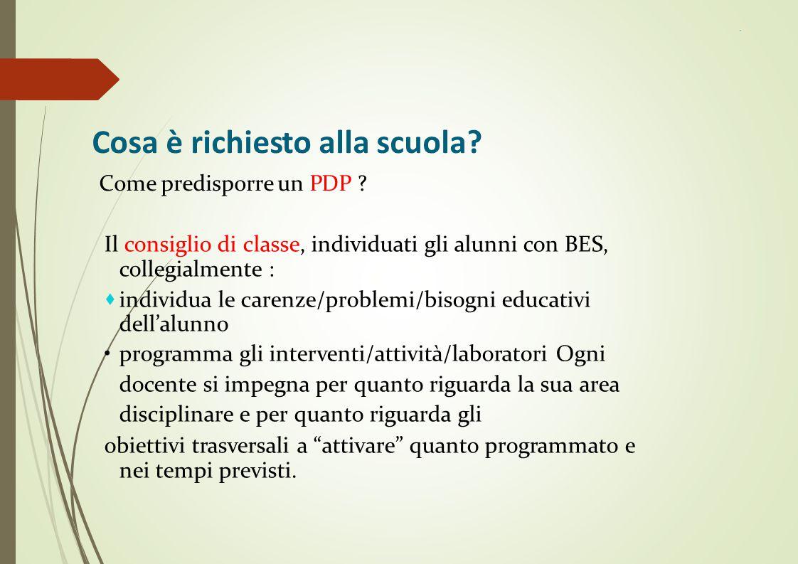 Cosa è richiesto alla scuola? Come predisporre un PDP ? Il consiglio di classe, individuati gli alunni con BES, collegialmente :  individua le carenz