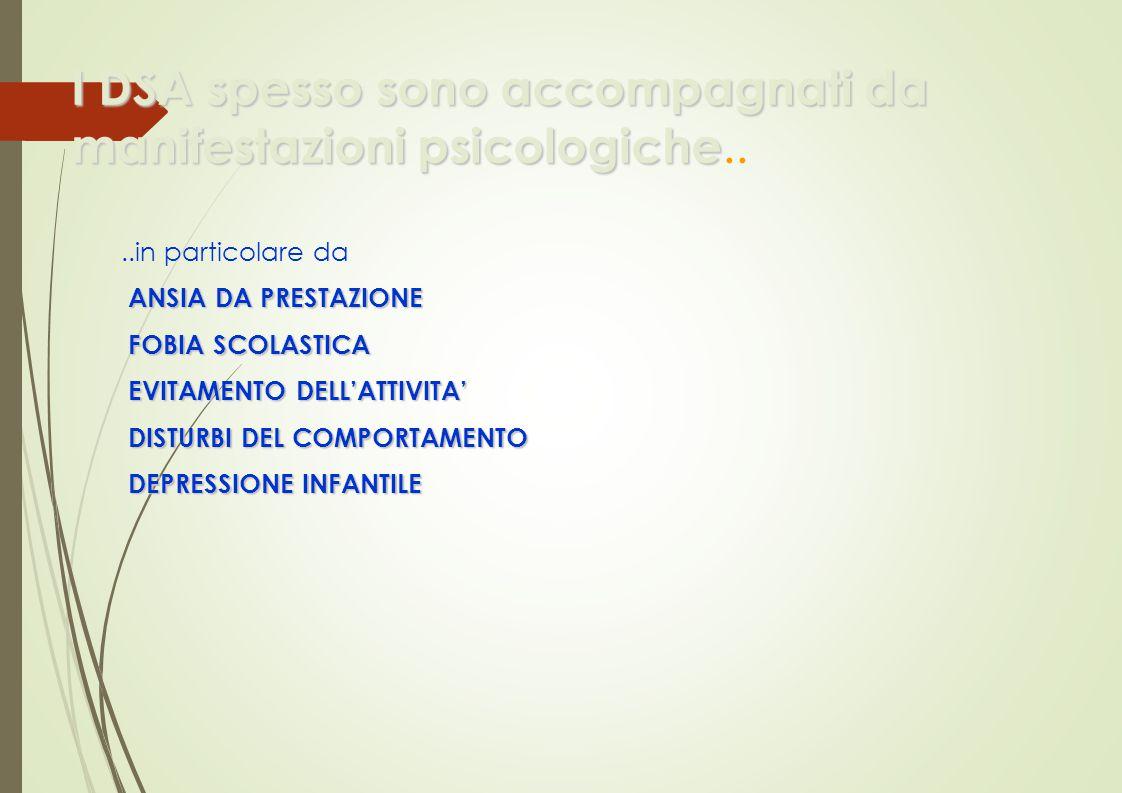 I DSA spesso sono accompagnati da manifestazioni psicologiche I DSA spesso sono accompagnati da manifestazioni psicologiche....in particolare da ANSIA