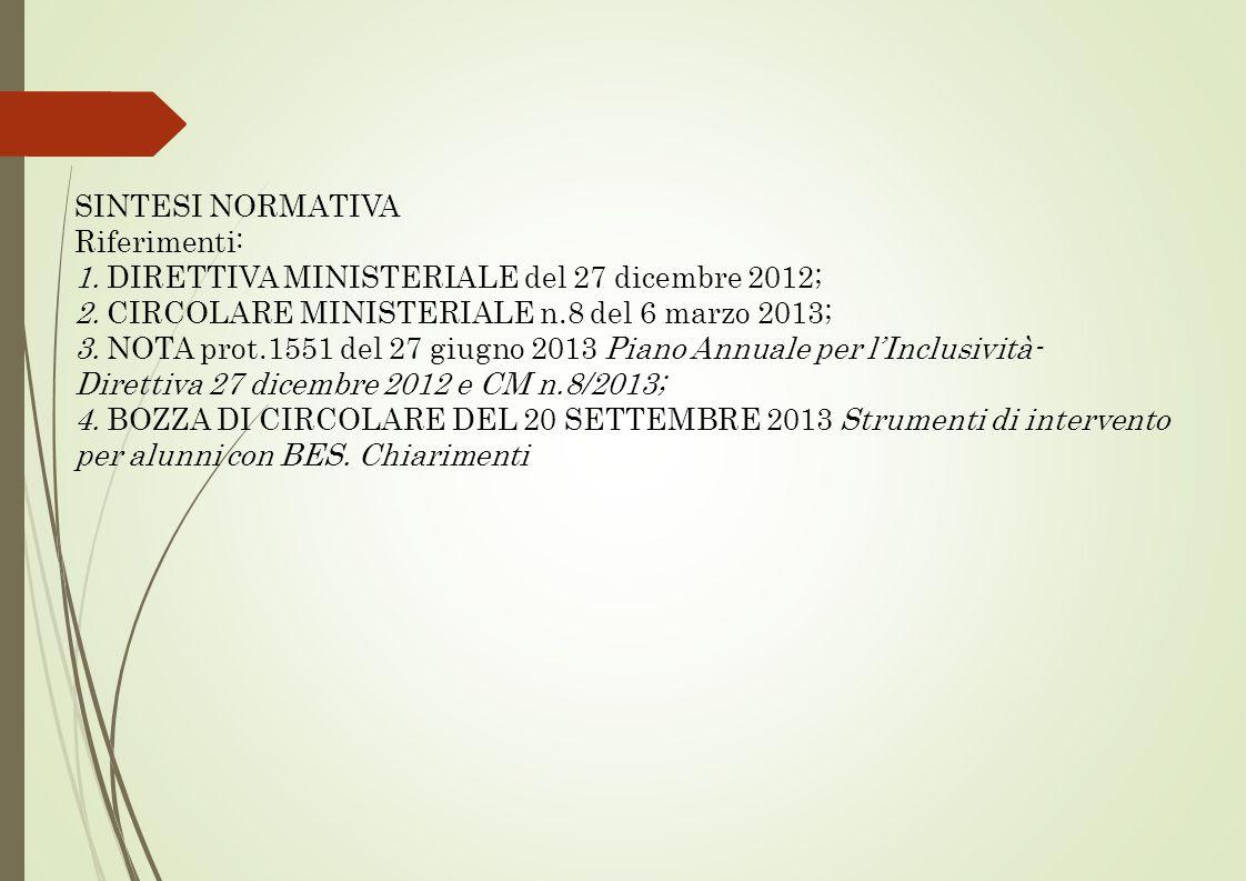 SINTESI NORMATIVA Riferimenti: 1. DIRETTIVA MINISTERIALE del 27 dicembre 2012; 2. CIRCOLARE MINISTERIALE n.8 del 6 marzo 2013; 3. NOTA prot.1551 del 2