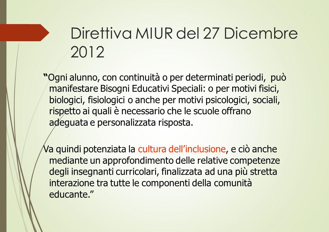 """Direttiva MIUR del 27 Dicembre 2012 """"Ogni alunno, con continuità o per determinati periodi, può manifestare Bisogni Educativi Speciali: o per motivi f"""