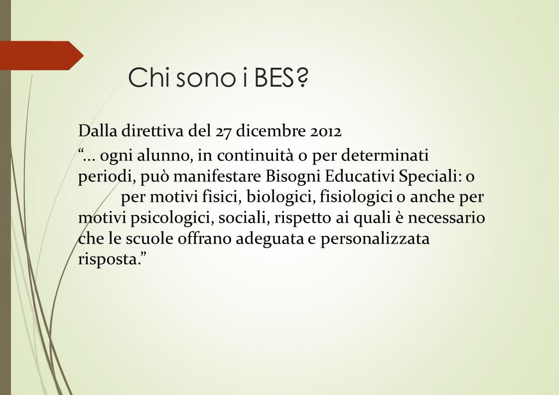 """Chi sono i BES? Dalla direttiva del 27 dicembre 2012 """"... ogni alunno, in continuità o per determinati periodi, può manifestare Bisogni Educativi Spec"""