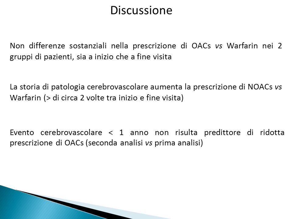 Discussione Evento cerebrovascolare < 1 anno non risulta predittore di ridotta prescrizione di OACs (seconda analisi vs prima analisi) La storia di pa