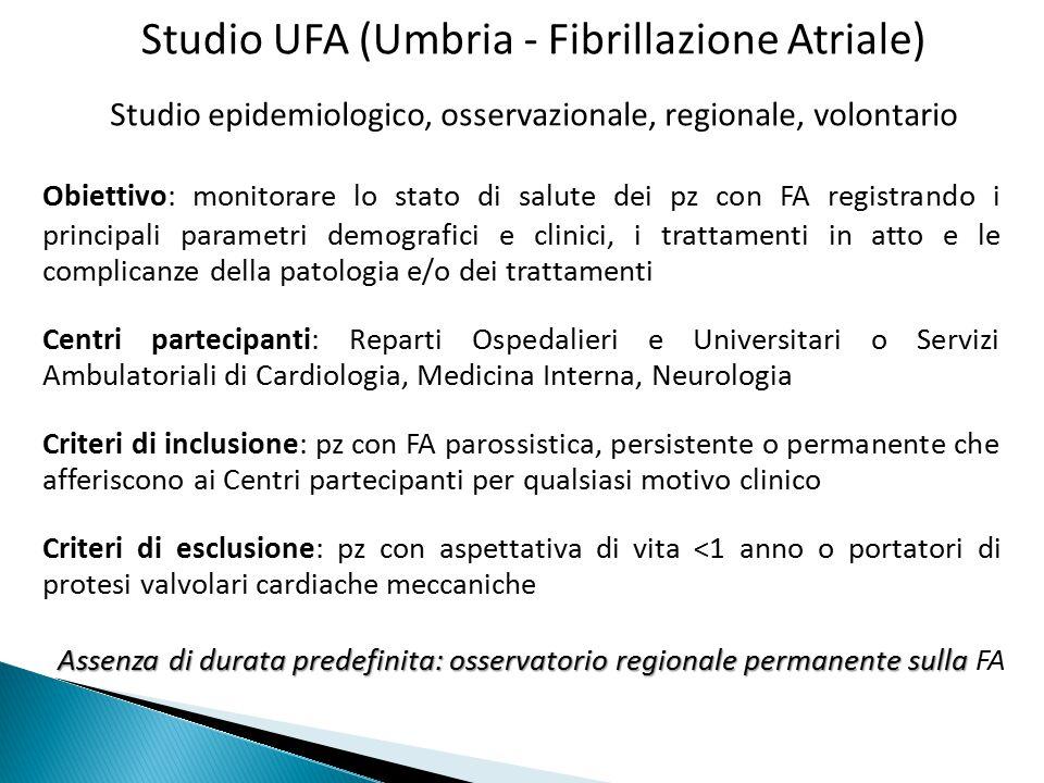 Studio UFA (Umbria - Fibrillazione Atriale) Obiettivo: monitorare lo stato di salute dei pz con FA registrando i principali parametri demografici e cl