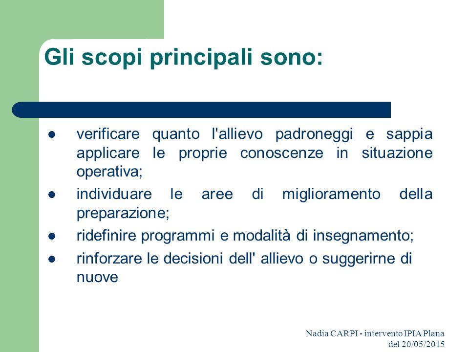 Nadia CARPI - intervento IPIA Plana del 20/05/2015 Gli scopi principali sono: verificare quanto l'allievo padroneggi e sappia applicare le proprie con
