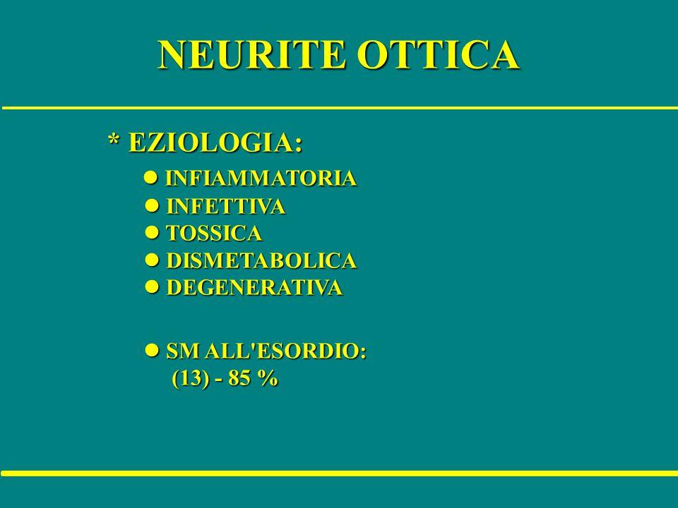 NEURITE OTTICA * EZIOLOGIA: * EZIOLOGIA: l INFIAMMATORIA l INFIAMMATORIA l INFETTIVA l INFETTIVA l TOSSICA l TOSSICA l DISMETABOLICA l DISMETABOLICA l