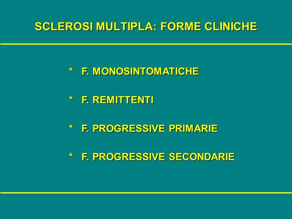 SCLEROSI MULTIPLA: FORME CLINICHE * F. MONOSINTOMATICHE * F. MONOSINTOMATICHE * F. REMITTENTI * F. REMITTENTI * F. PROGRESSIVE PRIMARIE * F. PROGRESSI