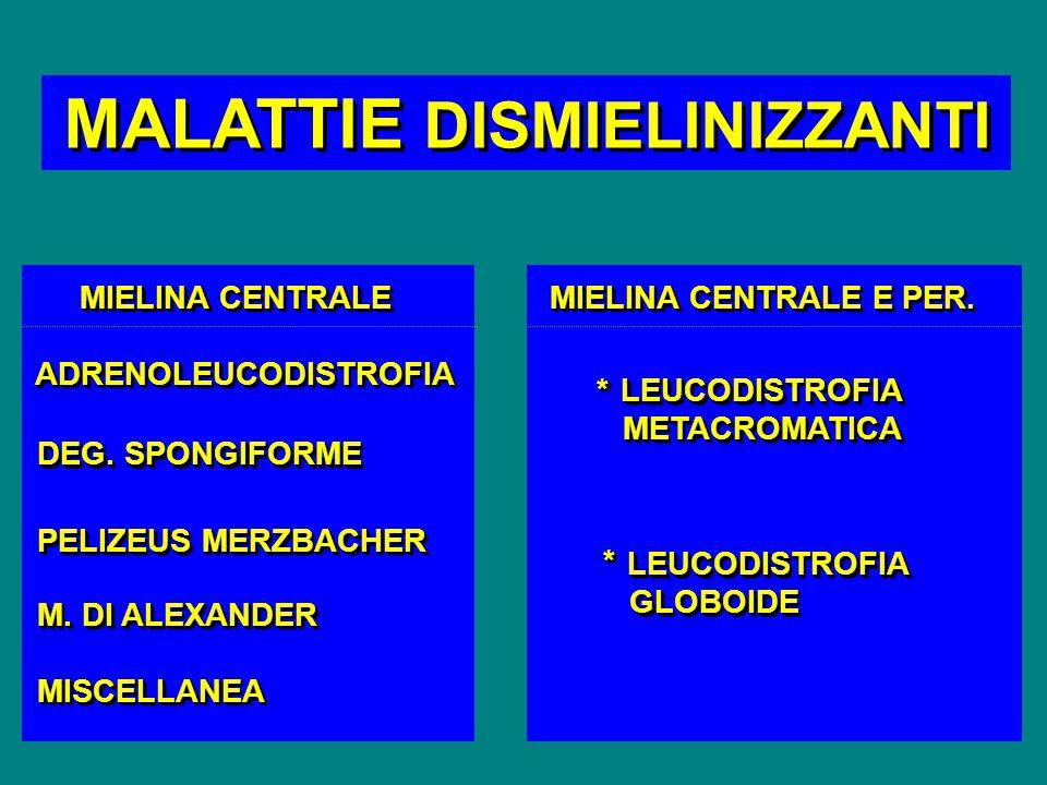 MALATTIE DISMIELINIZZANTI MIELINA CENTRALE MIELINA CENTRALE E PER. ADRENOLEUCODISTROFIAADRENOLEUCODISTROFIA DEG. SPONGIFORME PELIZEUS MERZBACHER M. DI