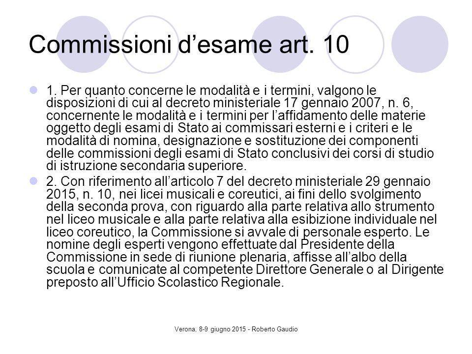 Verona, 8-9 giugno 2015 - Roberto Gaudio Commissioni d'esame art.